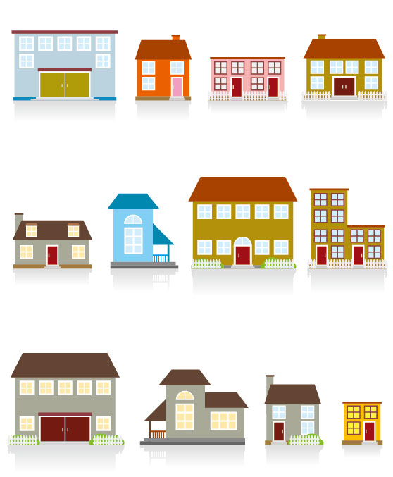Different Cartoon Houses Elements Vector 01 Free Download