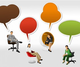 Cartoon People and Speech Bubbles vector Graphics 02