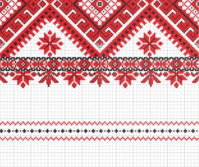 Ukraine Style Fabric ornaments vector graphics 01