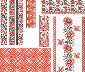 Ukraine Style Fabric ornaments vector graphics 02