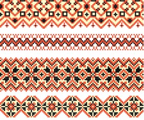 Ukraine Style Fabric ornaments vector graphics 03