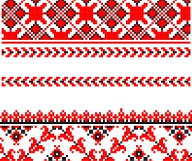 Ukraine Style Fabric ornaments vector graphics 05