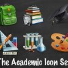 Set of the academic icon for PSD