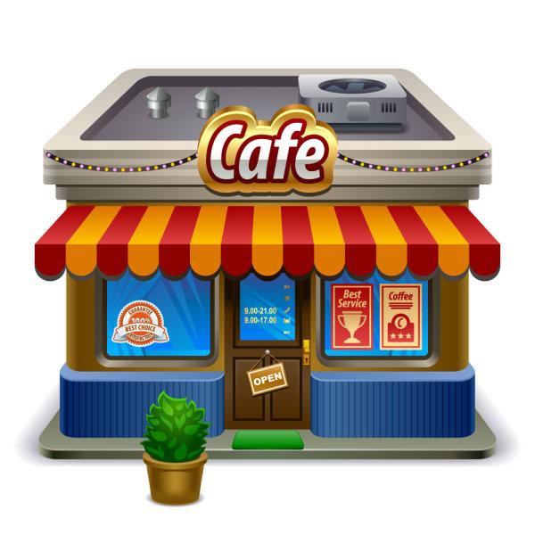 Elements Of Cartoon Cafe Vector Set Vector Cartoon Free