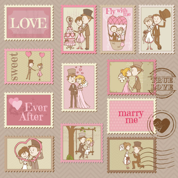 Elements of Wedding Seal and Stamp vector 01