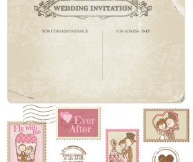 Elements of Wedding Seal and Stamp vector 02