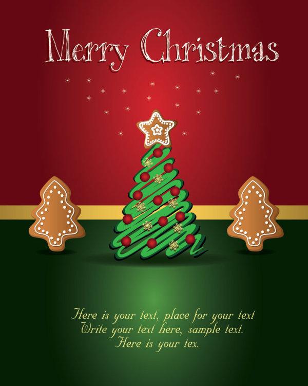 Cute Christmas Creative Greeting Cards Vector 01 Vector