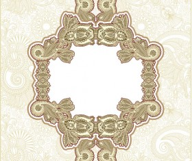 Retro lace Decoration Frames vector 02