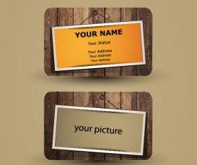 Retro Wooden cards vector 01