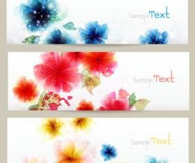 Shiny flower banner vector 01