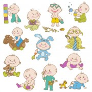 Link toElements of cute cartoon baby vector set 01