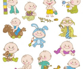 Elements of cute cartoon baby vector set 01