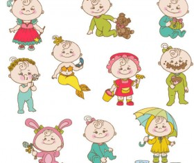 Elements of cute cartoon baby vector set 02