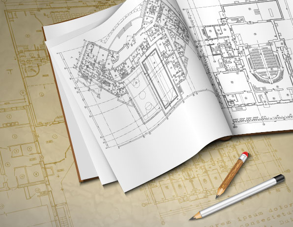 Architectural drawings design elements vector 03 vector for Online architecture drawing