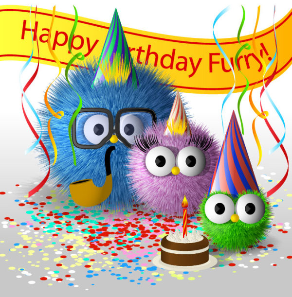 Funny Cartoon Happy Birthday Cards Vector 01