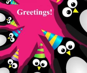 Funny cartoon Happy Birthday cards vector 02
