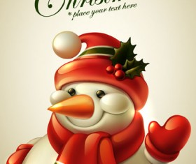 Cute Christmas elements cards vector 01