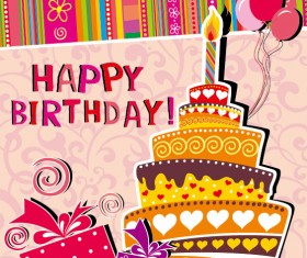Funny cartoon Happy Birthday cards vector 03