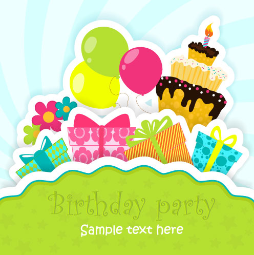 Funny cartoon Happy Birthday cards vector 05