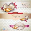 pearls and seashells elements label vector 03