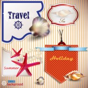 Link toPearls and seashells elements label vector 04