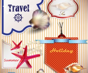 pearls and seashells elements label vector 04