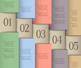 Set of number Modern banner vector 05