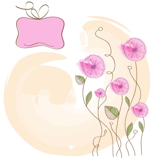 Hand drawn cute Flowers vector 01