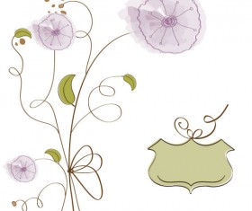 Hand drawn cute Flowers vector 02