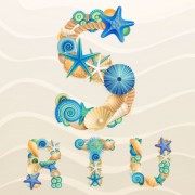 Link toSet of marine life font on sand vector 01