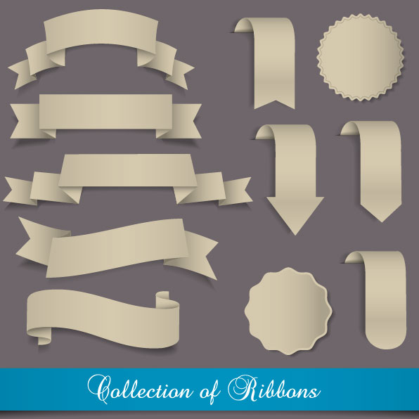 Stickers of Exquisite ribbons vector 01