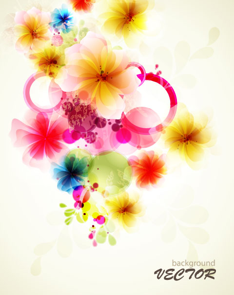 Shiny Colorful Flower Background Vector 02 Vector