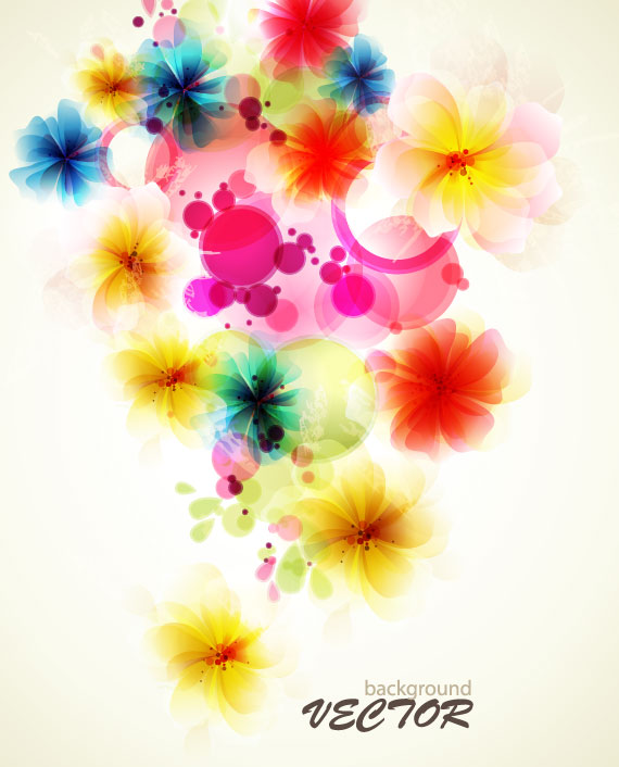Shiny Colorful Flower Background Vector 03 Free Download