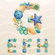 Link toSet of marine life font on sand vector 03