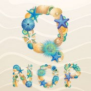 Link toSet of marine life font on sand vector 05