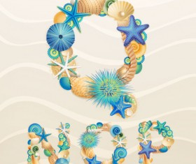 Set of marine life font on sand vector 05