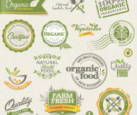 Set of organic food labels vector 01