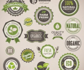 Set of organic food labels vector 02