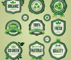 Set of organic food labels vector 03