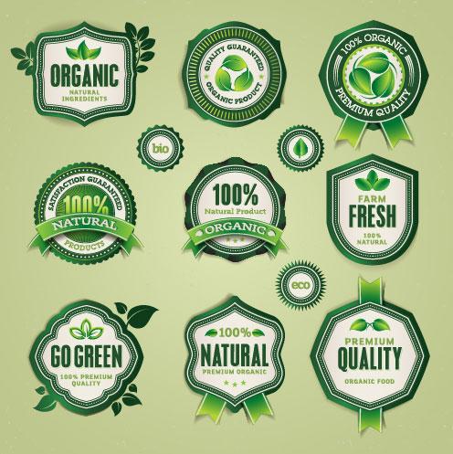 Set of organic food labels vector 03