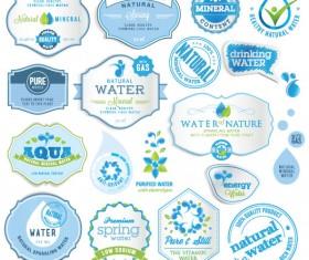 Set of organic food labels vector 04