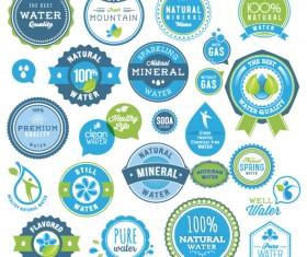 Set of organic food labels vector 05