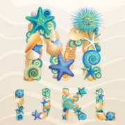 Link toSet of marine life font on sand vector 06