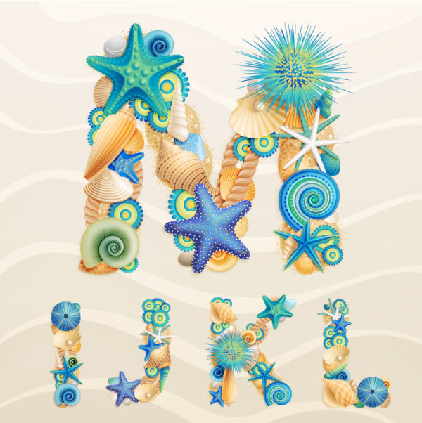 Set of marine life font on sand vector 06