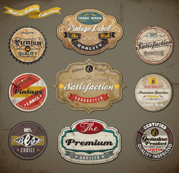 Vintage ribbons labels and Stickers vector 01