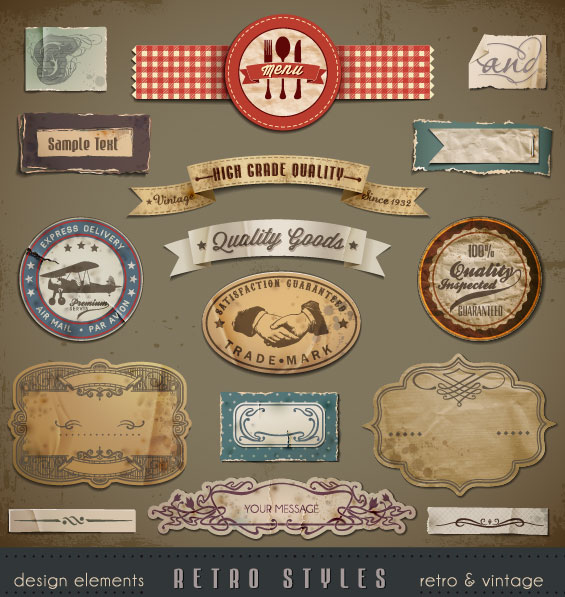 Vintage ribbons labels and Stickers vector 02
