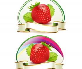 Fresh strawberry elements background vector 02