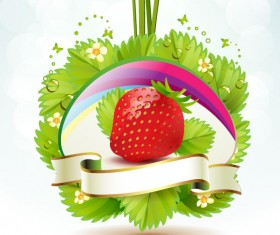 Fresh strawberry elements background vector 04