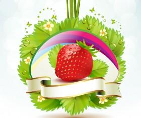Fresh strawberry elements background vector 04