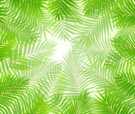 tropical Green leaf elements vector background 01